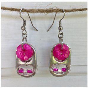 Pink Flower 🌺 Button Soda Pop Tab Earrings